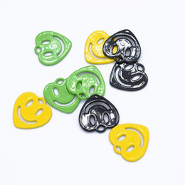 Painting Faces Australia - 100pcs lot Paint surface Heart-shaped Smiley Face Charms Pendant For Bracelet Necklace Jewelry Making Accessories 15*15mm