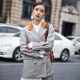 $enCountryForm.capitalKeyWord NZ - Fashion Hit Color Turn-down Collar Pocket Design Pant Suits Women Spring Long Sleeve Set 2019 New Elegant Office Lady Blazer Set