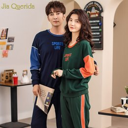 Pajamas for couPles online shopping - Home Clothes Women s Cotton Printing Sport Style Long Sleeve Autumn Winter Sleeping Suits for Couple Fashion Couple Pajamas