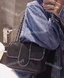 Genuine Leather Bag Design Australia - comeinu9 Design Bag 25cm Black Genuine Leather Flap Handbag With Silver Chain Around Shoulder Bag women's Medium Bags