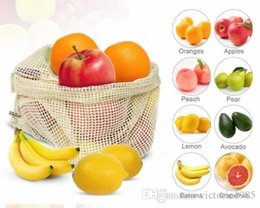 Kitchen Storage Sets Australia - wholesale 3 pcs set Reusable Cotton Vegetable Bags Home Kitchen Fruit And Vegetable Storage Mesh Bags With Drawstring Machine Washable