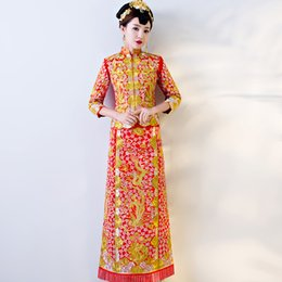 oriental chinese dress Australia - Oriental Style Dresses Chinese Antiques For Sale Red Qipao Wedding Dress Traditional Cheongsam Women Phoenix Embroidery Vintage