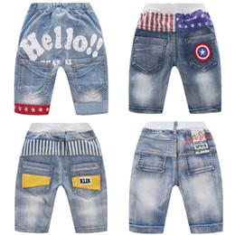 Kids Boy Jeans Stars Striped Printed Letter Embroidery Denim Shorts Elastic Waist Pocket Short Jeans Boy Middle Waist Casual Shorts on Sale