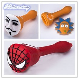 $enCountryForm.capitalKeyWord NZ - Spider-Man V face Multiple Style Silicone Smoke Pipe Unbreakable Tobacco Hand Pipes Spoon smoking pipe with Glass Bowl DHL 553