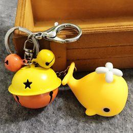 $enCountryForm.capitalKeyWord NZ - Cute Girls Bell Light Flashlights Key Rings Toys Animal Whale LED Keychains Bag Decor(yellow)