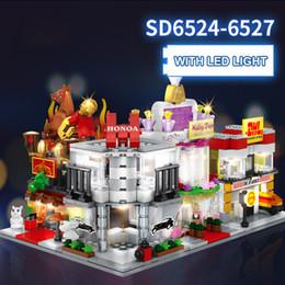 Block Stores Australia - SEMBO Micro street DIY Building Blocks SD6524-SD6531 Mini Store Shop 3D with Lighting Auction Model Kids toys Bricks Gift