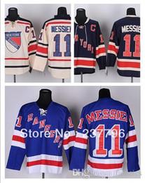 Cream York NZ - New Mark Messier Jersey #11 New York Rangers Ice Hockey Jerseys Blue Beige Cream Winter Classic Good Quality 100% Stitched