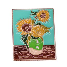Paintings Vases Australia - Van Gogh pin sunflower vase brooch colorful oil painting badge artist collection