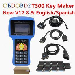 Auto Ecu Connectors Australia - DHL Free T300 Auto Key Programmer T-300 V17.8 English Spanish Optional T 300 Auto Key Transponder T300 For IMMO ECU Key Marker