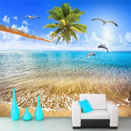 $enCountryForm.capitalKeyWord Australia - Custom Mural Wallpaper Sea View Beach Coconut Trees Dolphin Photo Background Wall Painting Living Room 3D Wall Murals Wallpaper