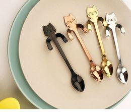 $enCountryForm.capitalKeyWord Australia - Mounchain Cute Cartoon Cat Stainless Steel Handle Hanging Tea Coffee Spoon Ice Cream Cutlery Tableware Outdoor Camping Picnic