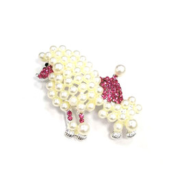 $enCountryForm.capitalKeyWord UK - 20pcs lot free shipping 60mm cute pearl pink and crystal poodle dog animal Jewelry ornament shining Rhinestone Pin Brooches