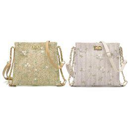 $enCountryForm.capitalKeyWord UK - Straw Shoulder Crossbody Messenger Bags Ladies Fresh Flower Women Handbags