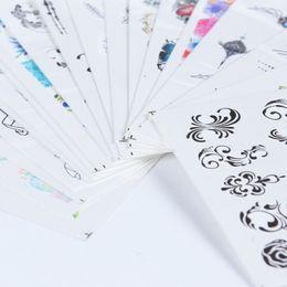 $enCountryForm.capitalKeyWord NZ - 40pcs lot Nail Water Sticker Jewelry Feather Flower Black Mix Design Decals For Nails Art Decoration Tip Manicure Sastz608-658
