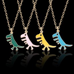 $enCountryForm.capitalKeyWord Australia - 2019 DIY Cute Animal Dinosaur Necklace Colorful Cartoon Alloy Small Pendant Necklaces For Women&Girls Daily Jewelry Party Gifts