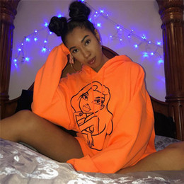 Wholesale neon long sleeve pullover resale online – 2019 Girls Cartoon Print Oversized Hoodie Dress Neon Orange Pink Black Cute Sweatshirt Women Streetwear Tracksuit