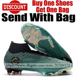 Cr7 Ronaldo Boots Australia - 2019 Men Mercurial Superfly CR7 VI Elite FG Soccer Shoes Cristiano Ronaldo Football Boots High Ankle Soccer Cleats Green Gold Black With Bag