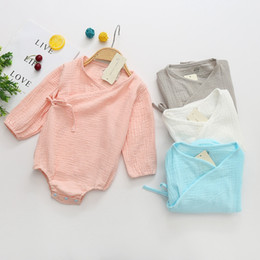 christmas boutique clothes 2019 - New summer baby rompers long sleeve cotton triangle jumpsuit solid color blue onesies boutique climbing clothes cheap ch