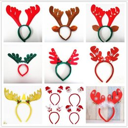 wholesale hair weaving supplies Canada - Christmas Antler Hair Bands Christmas Decorations Red Non Woven Headband Holiday Party Birthday Party Supplies LXL652L