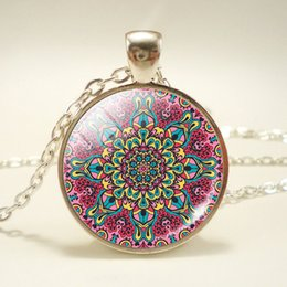 $enCountryForm.capitalKeyWord NZ - Foreign trade beautiful mandala pattern time gemstone pendant necklace glass dome pendant accessories fashion jewelry wholesale