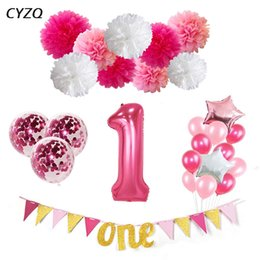 One Year Party Decorations Australia - 1st Birthday Balloons I AM ONE Paper Banner Pink Foil Balloons Baby Girl Birthday Party Decoration Baby 1 First Year Party Decor