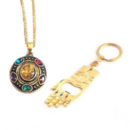 $enCountryForm.capitalKeyWord Australia - Fashion Red Blue Gem Diamonds Pendant Necklace Gold Chain Women Men Hand Shape Bottle Opener Keyring Jewelry Set Lovers Gift
