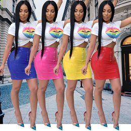 $enCountryForm.capitalKeyWord NZ - Summer 2019 sexy lip club two piece women set crop top and skirt casual sets LIIP 2 piece outfits for women 3475