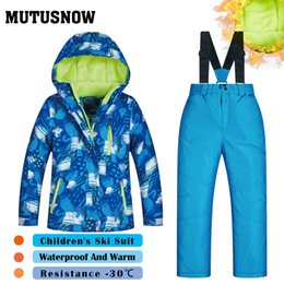 Children Winter Ski Suit Australia - MUTUSNOW New Ski Suit Boys Children's Brands High Quality Skiwear Windproof Waterproof Snow Warm Child Winter Thick Snowboarding Suits LXQ