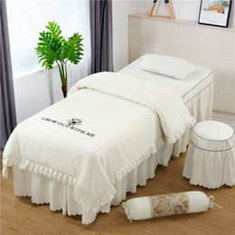 $enCountryForm.capitalKeyWord Australia - 4 5 6 Pcs SPA Beauty Salon Pure Cotton Linen Embroidery Bedding Set Duvet Cover Pillowcase Customized Size White Grey Solid