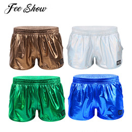 Elastic Pole Australia - 2019 Men Shiny Metallic Low Rise Raves Pole Dance Shorts Elastic Waistban Boxer Shorts Stage Performance Clubwear Costume Trunks