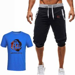 Discount men floral t shirt wholesale - Summer Mens Floral Print T Shirt New Casual Two Piece Sets Men Casual Shorts Tee Shirt Plus Size Fashion Gym Fitness Tra