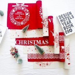 Decor Ornament Australia - 28*270cm Christmas Table Cloth Christmas Ornament Cotton&Jute Printed Table Covers Snowflake elk snowman Santa Cartoon Xmas table Flag decor