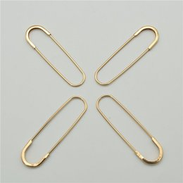 knitting pins NZ - 10pcs 6.5cm 7.0cm Large Gold Color Iron Safety Brooch Pins Skirt Knitted DIY Jewelry Finding