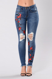 embroidered leggings UK - Women High Waist Skinny Jeans floral embroidered Pencil Pants Female Trousers Stretch Jeans Leggings