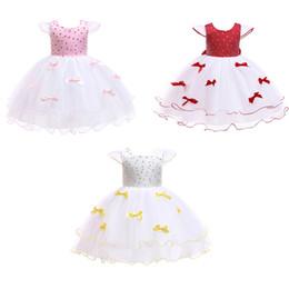Ankle decorAtion online shopping - Kids Girls Princess Dresses Round Neck Bow Tie Sash Zipper Dot Printed Bow Decoration Mesh Dress Kids Designer Wedding Party TUTU T