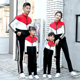 mom son clothes NZ - Family Match Outfits Mother Father Kids Boy Girls Coat + Pants Suits Mom Dad Daughter Son Sports Clothing Sets 2020 Spring Kids Tracksuit