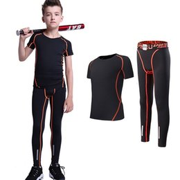 $enCountryForm.capitalKeyWord NZ - Kids Baseball Gym Sports Suits Boys Girls Short Sleeve Compression Shirts and Pant 2 Pcs Set Kids Runing Fitness Tracksuit Hot