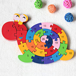 baby snail toys NZ - Baby Puzzles Wooden Toy Kids Montessori Toy Brain Training Educational Toys Game Play Winding Snail Wood Toys Kids 3D Puzzles