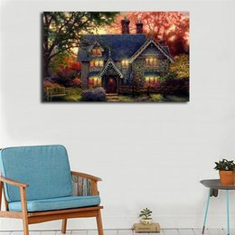 Thomas Kinkade Paintings Framed Australia - Thomas Kinkade Gingerbread Cottage Poster Canvas Painting Oil Framed Wall Art Print Pictures For Living Room Modern Home Decoracion Artwork