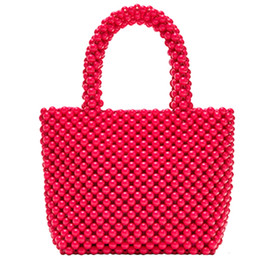 Diy Hand Bag Australia - Hand-Woven Pearl Bags Diy Solid Color Women Beaded Handbag Elegant Evening Bag Retro Handbag