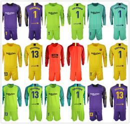 285d888087e 2018 2019 Men Set Long #1 Ter Stegen Goalkeeper Jerseys #13 Cillessen Soccer  Sets Marc-Andre Ter Stegen Football Kit Goalie Uniforms Adults