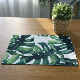 modern table placemats Australia - 32*45 cm Kitchen Table Mats Polyester cotton Table Tropical Napkin Green leaf Pattern mat Decorative Placemats