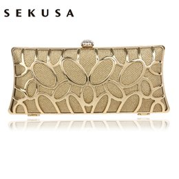 $enCountryForm.capitalKeyWord NZ - Sekusa Clutch Female Diamonds Metal Hollow Out Style Women Evening Bags Alloy Mixed Color Chain Shoulder Purse Evening Bags Y190626