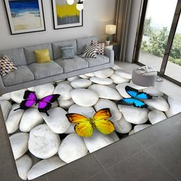 cobblestone flooring Australia - Cobblestone Butterfly Pattern Carpets For Living Room Bedroom Area Rugs 3D Printing Kids Room Play Carpet Coffee Table Floor Rug