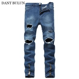 Discount jeans for skinny legs - Streetwear Men's Jean Skinny Slim Fit Jeans Male Ripped Destroyed Holes Trousers Zipper Legs Pants White Khaki Blue