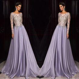 Celebrity kaftan dress online shopping - Lavender Dubai Arabic Kaftan Long Sleeves Prom Dresses Gold Embroidery Sheer Neck Celebrity Party Gowns Custom
