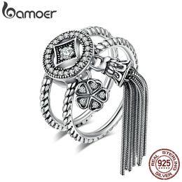 $enCountryForm.capitalKeyWord Australia - Bamoer 100% 925 Sterling Silver Double Layer Round & Geometric Long Tassel Finger Ring For Women Bohemian Vintage Jewelry Scr088 J190625