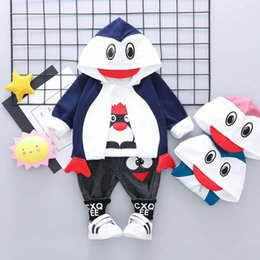 Cute Casual Spring Outfits NZ - Cute Baby Suit 3pcs Boys Clothing Sets Infant Outfits Coat+T shirt+trousers Baby Boy Clothes casual Infant sets Toddler girls Clothes A3823