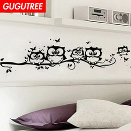 Large owL tree decaL online shopping - Decorate Home trees owl cartoon art wall sticker decoration Decals mural painting Removable Decor Wallpaper G