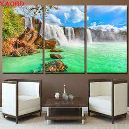 $enCountryForm.capitalKeyWord Australia - 3 Pieces Waterfall Natural Landscape,5d diy diamond painting accessories,mosaic puzzle picture full square round embroidery kits